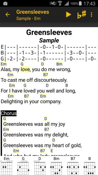 Songbook android 3 2 1 liederbuch mit akkorden